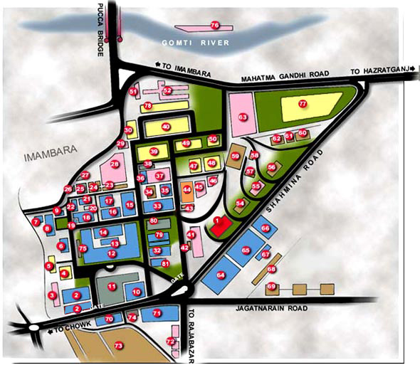 up main campus map University Chowk Lucknow U P India King George S Medical up main campus map